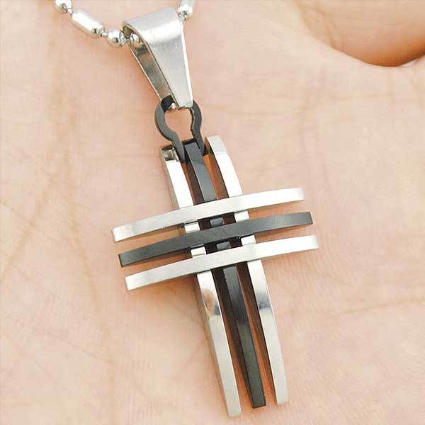 "316L Stainless Steel ""Silver And Gold"" Cross Necklace - Blown Biker - 2"