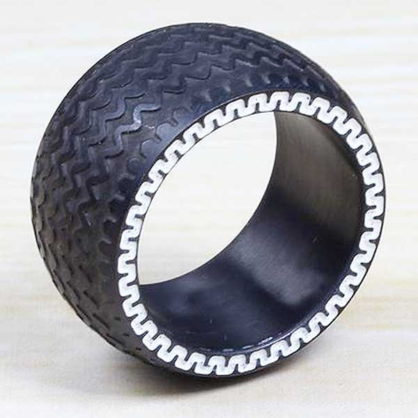 "316L Stainless Steel ""Fatboy Tyre"" Ring - Blown Biker - 1"