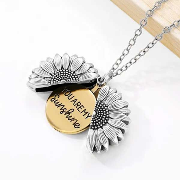 """You Are My Sunshine"" Secret Sunflower Necklace - Blown Biker - 4"