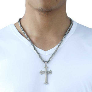 "316L Stainless Steel 3 Layer ""Knights Cross"" Necklace - Blown Biker - 4"