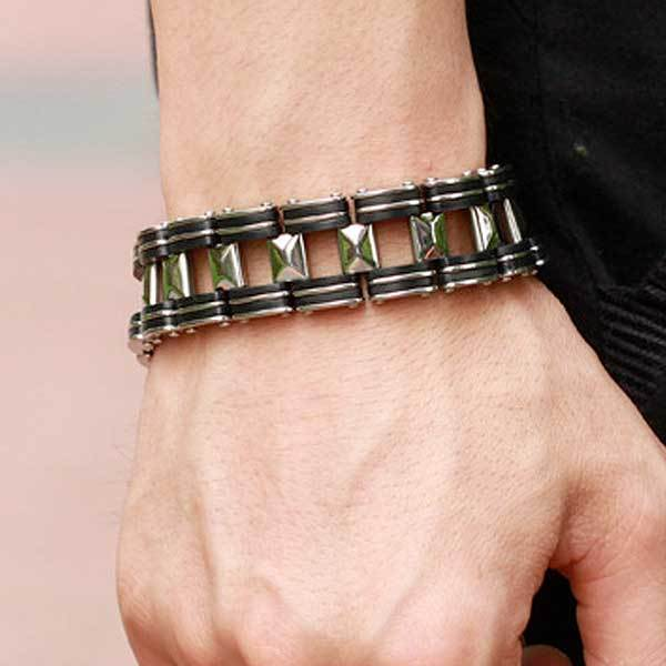 "316L Stainless Steel & Silicone ""Chunky"" Bracelet - Blown Biker - 4"