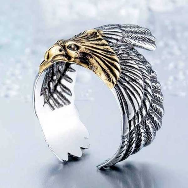 "316L Stainless Steel ""Golden Eagle"" Ring - Blown Biker - 4"