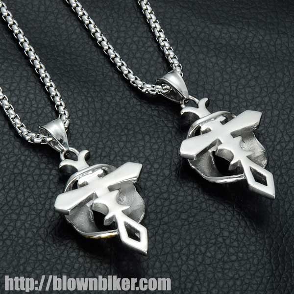 "Gold / Silver Plated Angel Wings ""Cross"" Necklace - Blown Biker - 6"