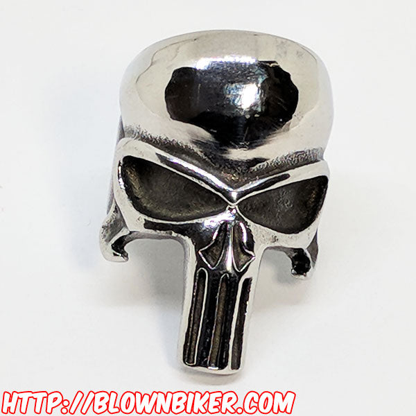 "316L Stainless Steel ""The Punisher"" Ring - Blown Biker - 8"