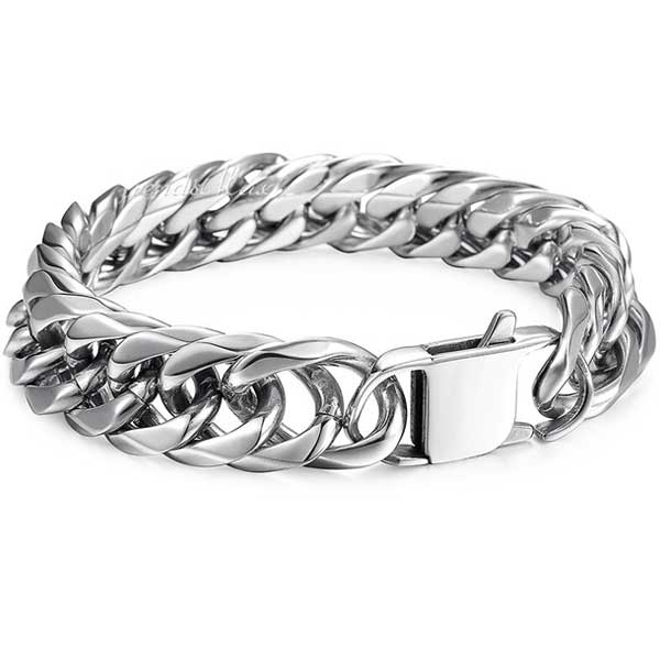 "316L Stainless Steel ""Silver Cuban"" Bracelet - Blown Biker - 3"