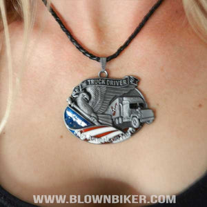 Truck Driver - An American Hero Pendant Necklace - Blown Biker - 2