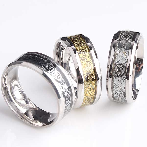 "Tungsten Steel ""Dragon"" Ring - Blown Biker - 5"