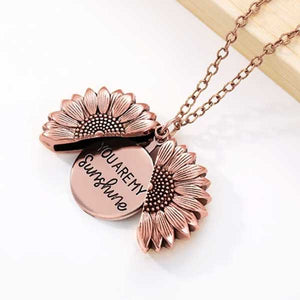 """You Are My Sunshine"" Secret Sunflower Necklace - Blown Biker - 5"