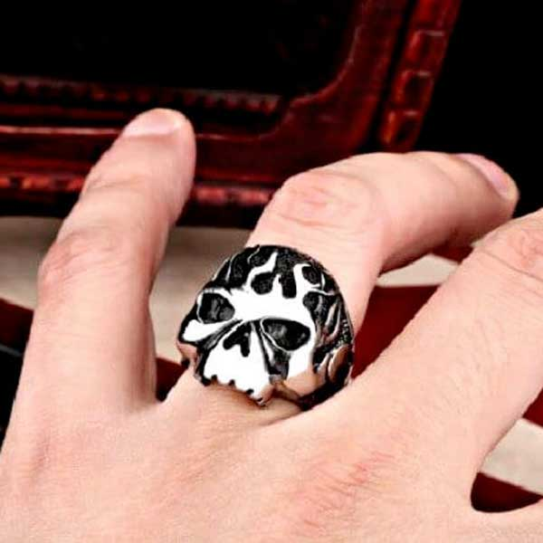 "316L Stainless Steel Biker ""Flame Skull"" Ring - Blown Biker - 1"