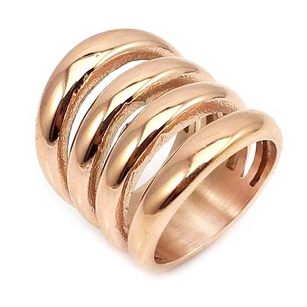 "Rose Gold ""Wide Biker"" Womens Ring - Blown Biker - 3"