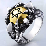 "316L Stainless Steel ""Copper Hexagram"" Ring - Blown Biker - 5"