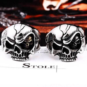 "316L Stainless Steel ""Evil Eye Skull"" Ring - Blown Biker - 5"