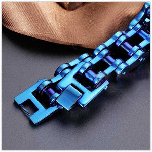 "316L Stainless Steel ""Blue & Purple"" Bracelet - Blown Biker - 5"