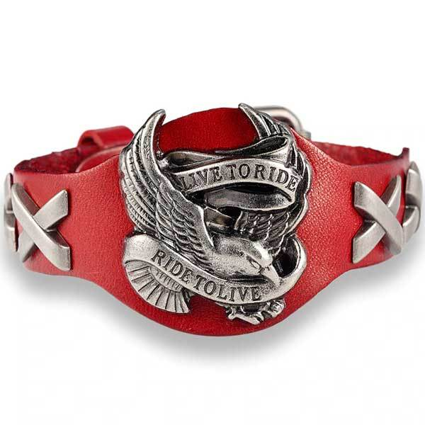 "Genuine Leather ""Live To Ride"" Bracelet - Blown Biker - 3"