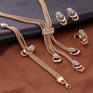 "4 Piece Rose Gold ""Rhinestone Shine"" Jewelry Set - Blown Biker - 9"