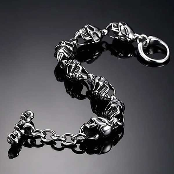 "316L Stainless Steel ""Punk Skull"" Bracelet - Blown Biker - 7"