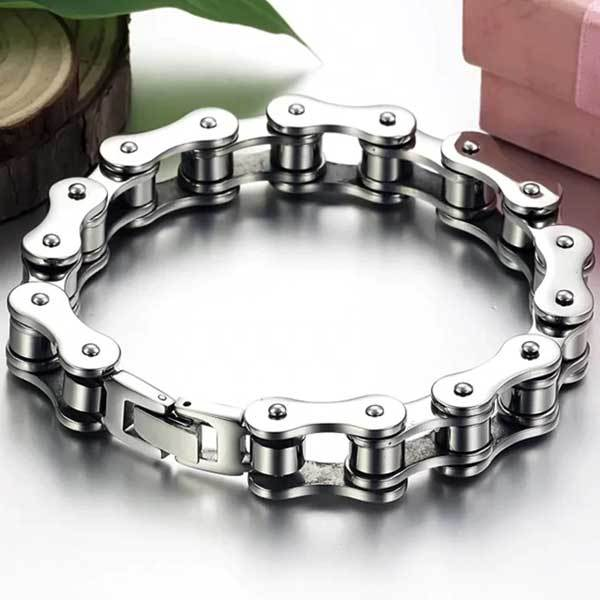 "316L Stainless Steel ""Slimline"" Biker Chain Bracelet - Blown Biker - 1"