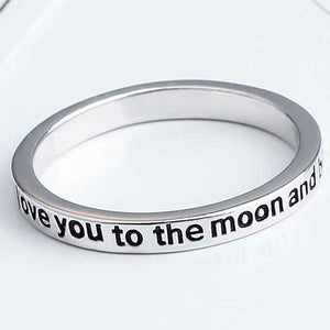 "925 Sterling Silver ""I Love You To The Moon And Back"" Ring - Blown Biker - 2"