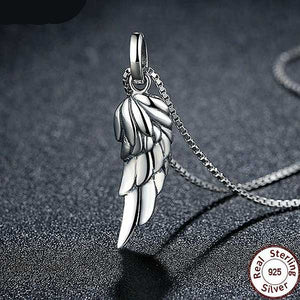 "925 Sterling Silver ""Angel Wing"" Pendant Necklace - Blown Biker - 6"