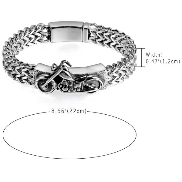 "316L Stainless Steel ""Biker"" Bracelet - Blown Biker - 5"