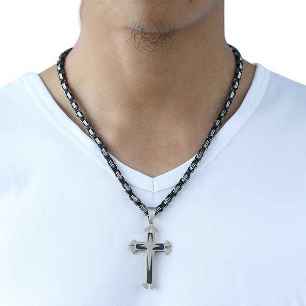 "316L Stainless Steel 3 Layer ""Knights Cross"" Necklace - Blown Biker - 5"