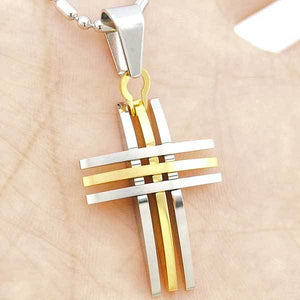 "316L Stainless Steel ""Silver And Gold"" Cross Necklace - Blown Biker - 1"