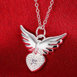 "925 Sterling Silver ""Zirconia Charm"" Angel Wings Necklace - Blown Biker - 1"