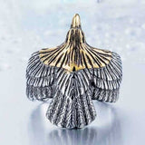 "316L Stainless Steel ""Golden Eagle"" Ring - Blown Biker - 5"