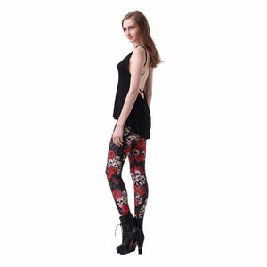 "3D Printed ""Grinning Skulls"" Leggings - Blown Biker - 6"