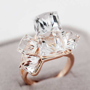 "Rose Gold ""Rhinestone Cluster"" Ring - Blown Biker - 4"