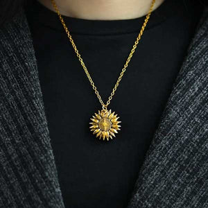 """You Are My Sunshine"" Secret Sunflower Necklace - Blown Biker - 6"