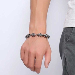 "316L Stainless Steel ""Punk Skull"" Bracelet - Blown Biker - 4"