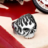"316L Stainless Steel Biker ""Flame Skull"" Ring - Blown Biker - 2"