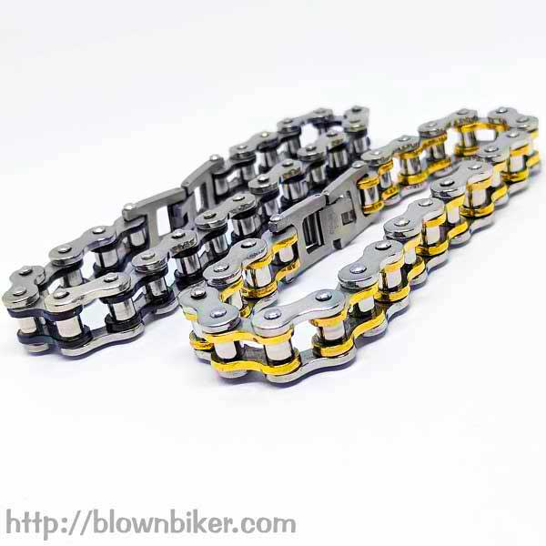 "316L Stainless Steel ""Gold Link"" Bracelet - Blown Biker - 7"