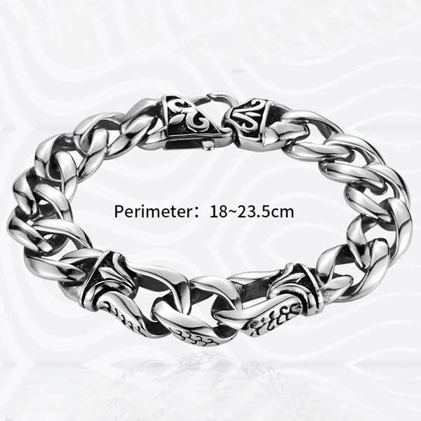 "316L Stainless Steel ""Nordic Viking"" Bracelet - Blown Biker - 5"
