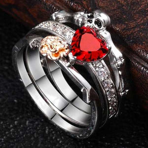"""Red Skeleton"" 2 Piece Ring Set - Blown Biker - 1"