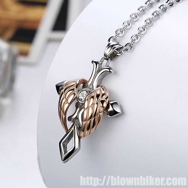 "Gold / Silver Plated Angel Wings ""Cross"" Necklace - Blown Biker - 1"