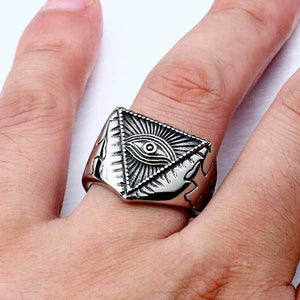 "316L Stainless Steel ""All-Seeing Eye"" Ring - Blown Biker - 6"