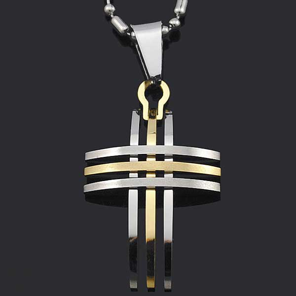 "316L Stainless Steel ""Silver And Gold"" Cross Necklace - Blown Biker - 6"
