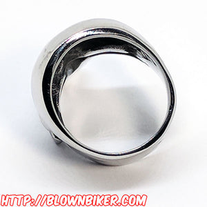 "316L Stainless Steel ""The Punisher"" Ring - Blown Biker - 10"