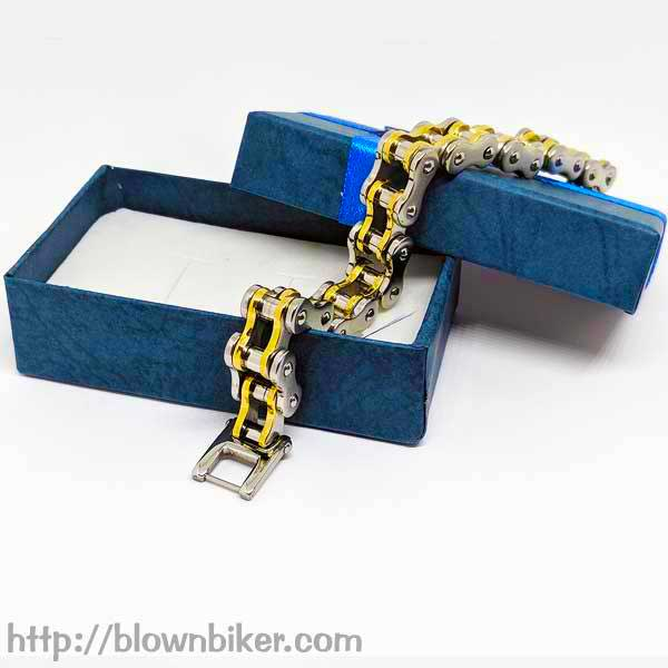 "316L Stainless Steel ""Gold Link"" Bracelet - Blown Biker - 9"