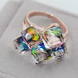 "Rose Gold ""Rhinestone Cluster"" Ring - Blown Biker - 8"