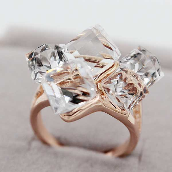 "Rose Gold ""Rhinestone Cluster"" Ring - Blown Biker - 9"