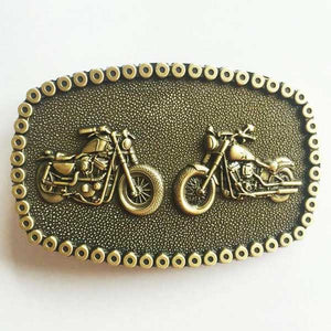 """Dual Biker"" Metal Belt Buckle - Blown Biker - 1"