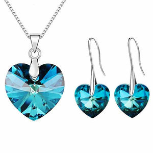 """Crystal Hearts"" Necklace/Earrings Jewelry Set - Blown Biker - 1"