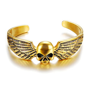 "316L Stainless Steel ""Winged Skull"" Bangle - Blown Biker - 1"