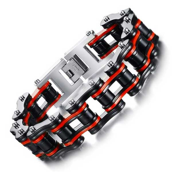 "316L Stainless Steel ""Red & Black"" Biker Bracelet - Blown Biker - 1"