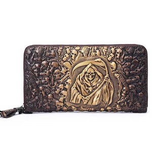 "Embossed Leather ""Reaper Skulls"" Luxury Clutch - Blown Biker - 1"
