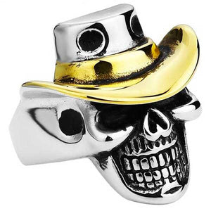 "316L Stainless Steel ""Cowboy Skull"" Ring - Blown Biker - 1"