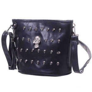 "Retro ""Grinning Skull"" Womens Shoulder Bag - Blown Biker - 1"